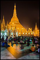 Golden dome seen from the Victory Ground at night, Shwedagon Pagoda. Yangon, Myanmar ( color)