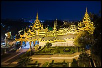 South stairwaygate from above at night, Shwedagon Pagoda. Yangon, Myanmar ( color)