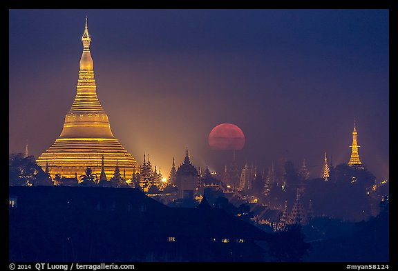 Moonset over Shwedagon Pagoda. Yangon, Myanmar (color)