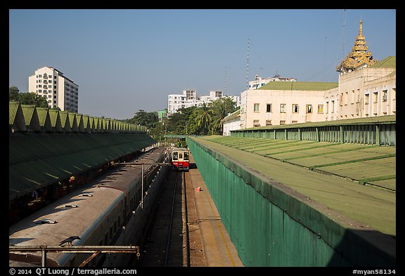 Central train station tracks. Yangon, Myanmar (color)