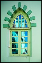 Church tower reflected in window. Yangon, Myanmar ( color)