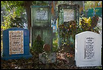 Headstones in Muslim Cemetery. Yangon, Myanmar ( color)