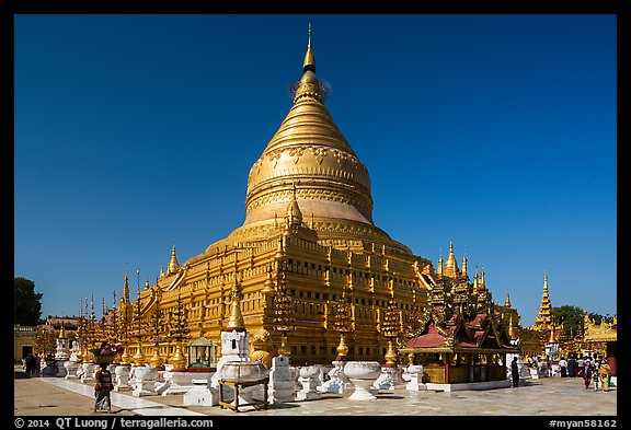 Circular gold leaf-gilded stupa, Shwezigon Pagoda. Bagan, Myanmar (color)
