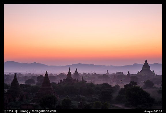 Archeological area at sunset. Bagan, Myanmar (color)