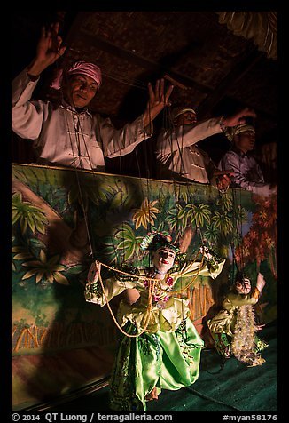 Marionettes handled by puppeteers. Bagan, Myanmar (color)