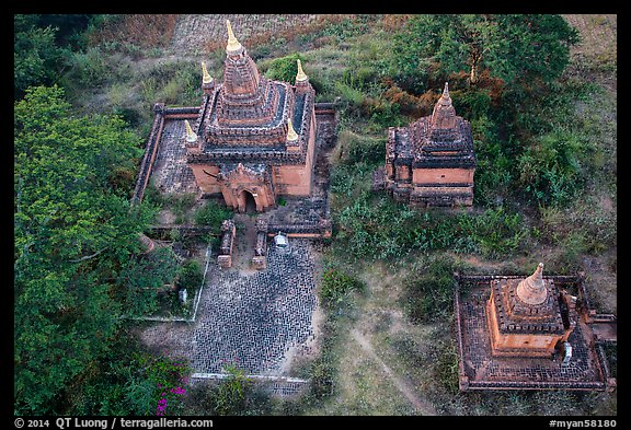 Temple seen from the air. Bagan, Myanmar (color)