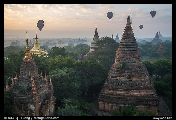Temples and hot air ballons at sunrise. Bagan, Myanmar (color)