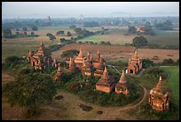 Aerial view of a complex of temples. Bagan, Myanmar
