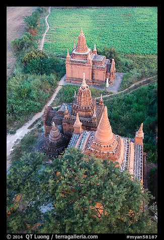 Small temple complex seen from above. Bagan, Myanmar (color)