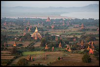 Aerial view of temples, cultivated lands, and Ayeyarwaddy River. Bagan, Myanmar
