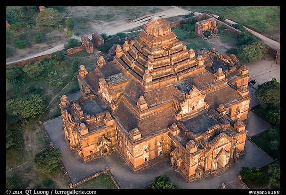 Aerial view of Dahmmayan Temple. Bagan, Myanmar (color)