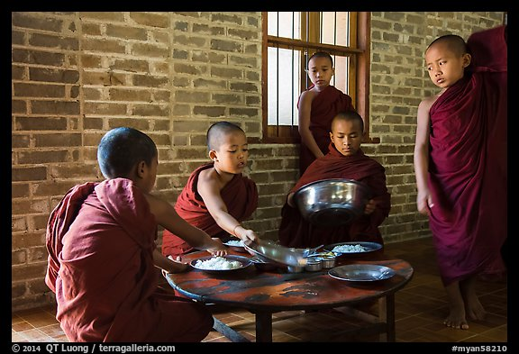 Buddhist novices preparing for lunch, Nyaung U. Bagan, Myanmar (color)