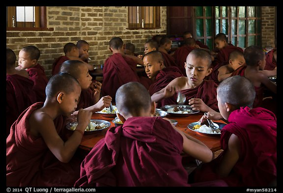 Novices eat lunch, last meal of the day. Bagan, Myanmar (color)