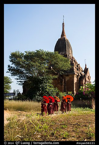 Novices holding red sun umbrellas walk from temple. Bagan, Myanmar (color)