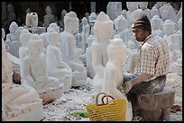 Worshop producing buddha statues on Marble street. Mandalay, Myanmar ( color)