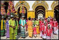 Young children and families gathering for noviciation ceremony, Mahamuni Pagoda. Mandalay, Myanmar ( color)