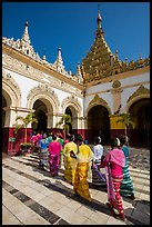 Novitiation ceremony procession, Mahamuni Pagoda. Mandalay, Myanmar ( color)