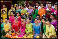 Women pose during novitiation ceremony, Mahamuni Pagoda. Mandalay, Myanmar ( color)