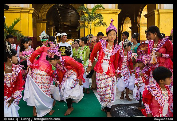 Young girls during novitiation, Mahamuni Pagoda. Mandalay, Myanmar (color)
