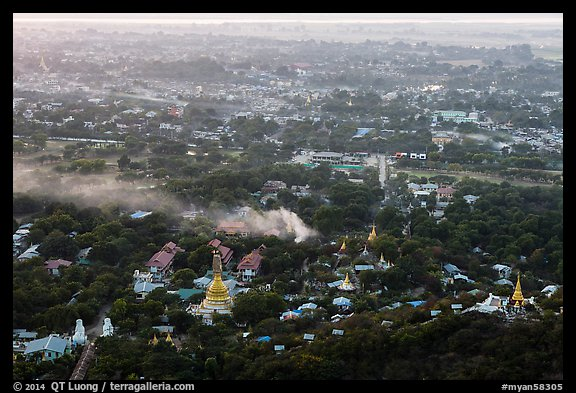 View from Mandalay Hill at sunset. Mandalay, Myanmar (color)