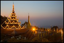 Sutaungpyei Pagoda on top of Mandalay Hill at dawn. Mandalay, Myanmar ( color)