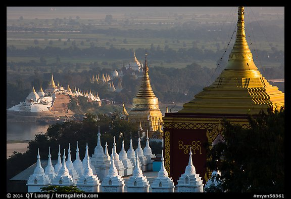 Stupas and Ayeyarwady river seen from Sagaing Hill. Myanmar (color)