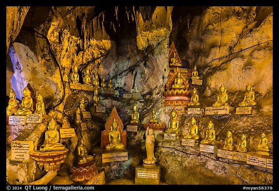 Some of 8,000 buddha images in Pindaya Caves. Pindaya, Myanmar (color)