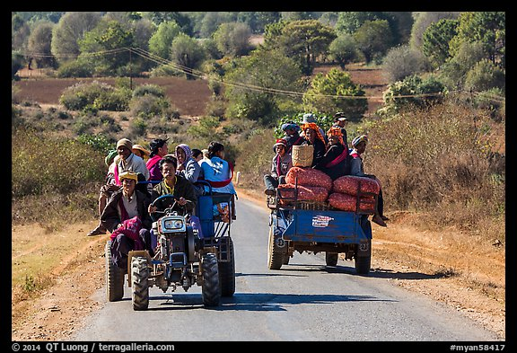 Tractors loaded with passengers. Shan state, Myanmar (color)