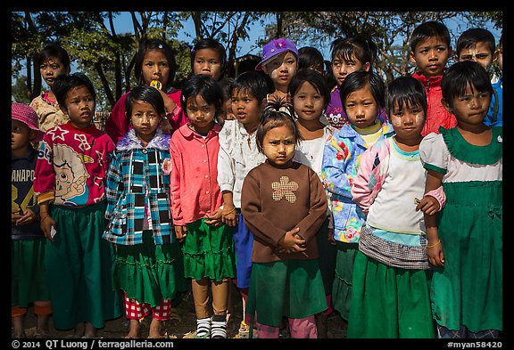 Group of schoolchildren, Nyaung Shwe,. Inle Lake, Myanmar (color)