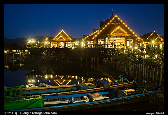 Entrance of Myanmar Treasure Resort at night. Inle Lake, Myanmar (color)