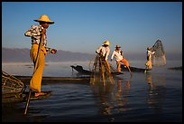 Intha fishermen standing on stern of their boats to fish. Inle Lake, Myanmar ( color)
