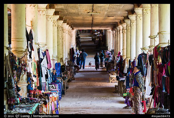 Covered walkway to Shwe Indein Pagoda lined up with vendors in 2014. Inle Lake, Myanmar (color)