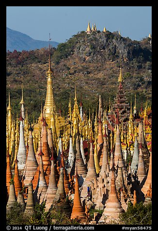 Jungle of stupas in various srages of disrepair, Indein. Inle Lake, Myanmar (color)