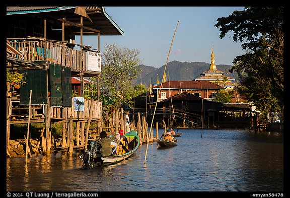 Canal in Ywama Village. Inle Lake, Myanmar (color)
