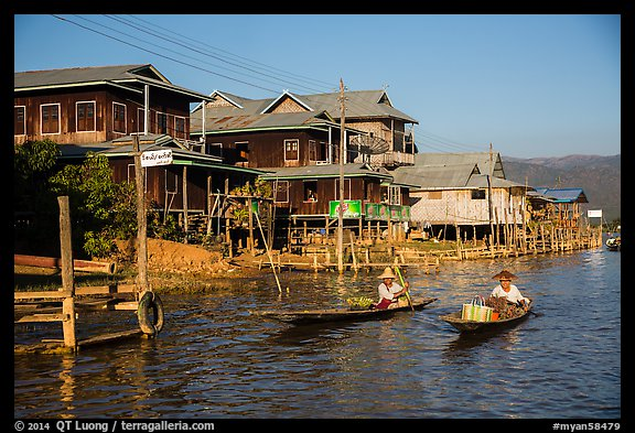 Houses on stilts in Ywama Village. Inle Lake, Myanmar (color)