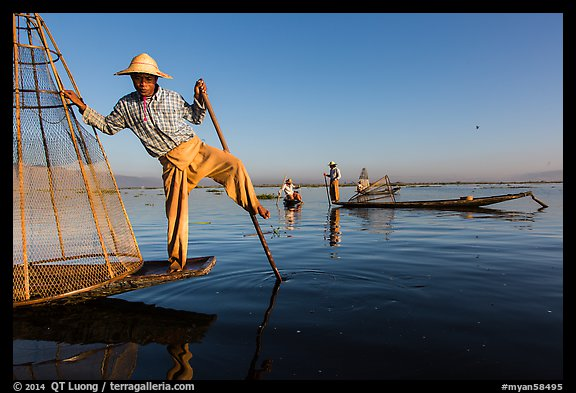 Group of Intha people fishing. Inle Lake, Myanmar (color)