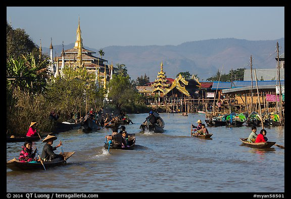 Small boats and shrines, Ywama Village. Inle Lake, Myanmar (color)