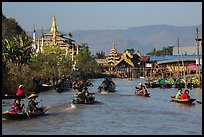 Small boats and shrines, Ywama Village. Inle Lake, Myanmar ( color)