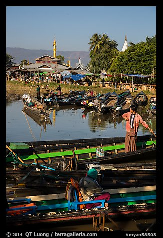 Parked boats and market. Inle Lake, Myanmar (color)