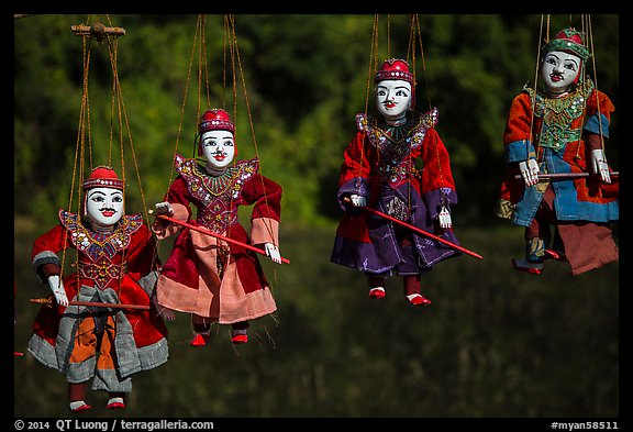 Traditional marionettes for sale. Inle Lake, Myanmar (color)