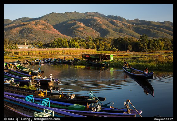 Canal, fields, and hills, Maing Thauk Village. Inle Lake, Myanmar (color)