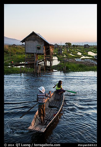 Children rowing across canal towards floating gardens, Maing Thauk Village. Inle Lake, Myanmar (color)