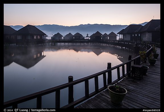 Myanmar Treasure Resort at dawn. Inle Lake, Myanmar (color)