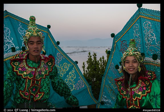 Greeters at dawn. Inle Lake, Myanmar (color)