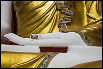 Detail of hand, of one of the four seated buddhas in  Kyaik Pun Paya. Bago, Myanmar ( color)