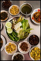 Close-up of Burmese meal. Bago, Myanmar ( color)
