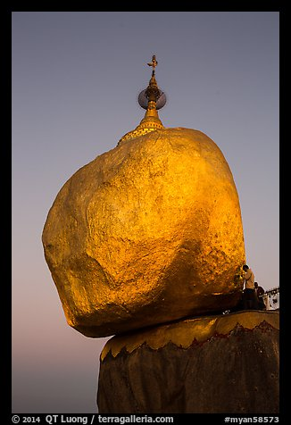 Golden rock gleaming at dawn. Kyaiktiyo, Myanmar (color)