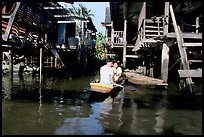 Houses along khlong on Thonbury canals. Bangkok, Thailand