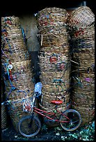 Bicycle and baskets near market. Bangkok, Thailand (color)