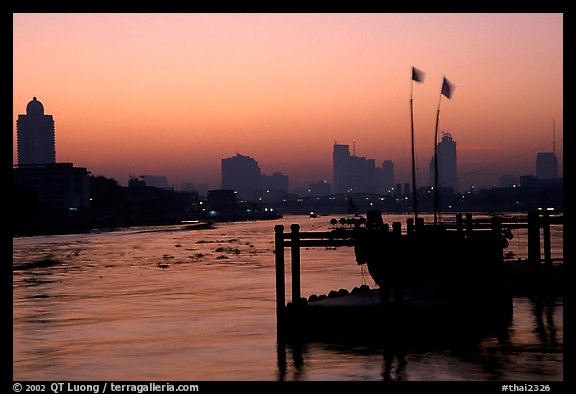 Sunset over Chao Phraya river. Bangkok, Thailand (color)